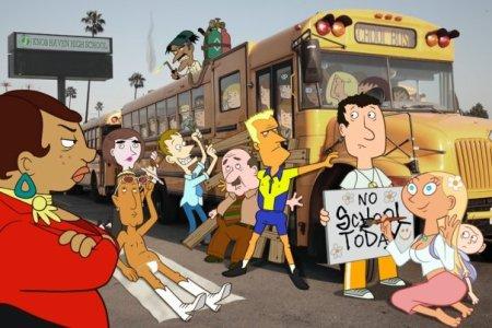 A man nailing a school bus shut? How zany!